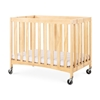 Compact Travel Sleeper Folding Crib, Slatted w/Oversized Casters